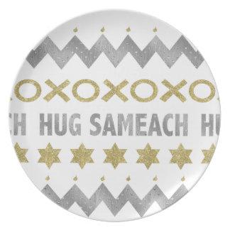 """ハヌカーのメラミン""""抱擁Sameach""""のエレガントなプレート10"""" プレート"""
