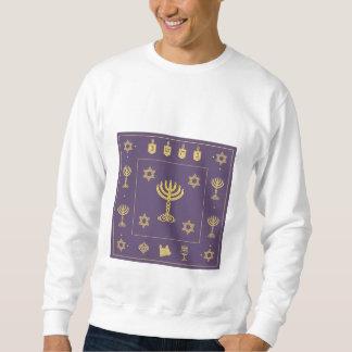 ハヌカーのモチーフの紫色のスエットシャツ スウェットシャツ