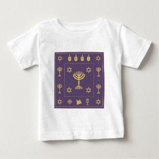 ハヌカーのモチーフの紫色の幼児Tシャツ ベビーTシャツ