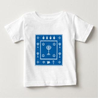 ハヌカーのモチーフの青い幼児Tシャツ ベビーTシャツ