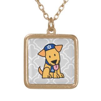ハヌカーのユダヤ人のラブラドル・レトリーバー犬の小犬 ゴールドプレートネックレス