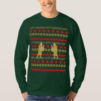 """ハヌカーの男性""""醜いセーター""""のTシャツの長袖 Tシャツ"""
