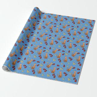 ハヌカー猫のDreidelの青い包装紙 ラッピングペーパー