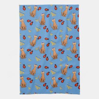 ハヌカー猫のDreidelの青い台所タオル キッチンタオル