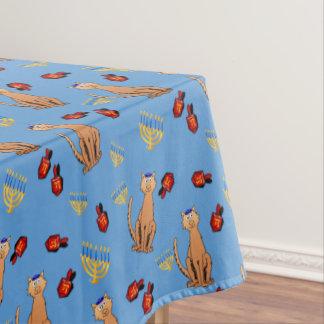 ハヌカー猫のDreidelの青のテーブルクロス テーブルクロス