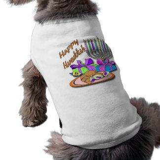 ハヌカー-ドーナツ、(ユダヤ教)メノラー、Dreidelペット衣類 犬用袖なしタンクトップ