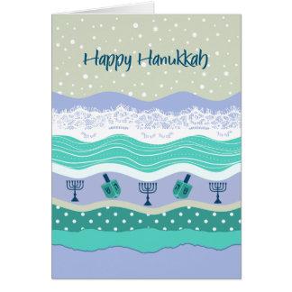ハヌカーDreidelsの(ユダヤ教)メノラーのレースのスクラップブック作りの一見 カード