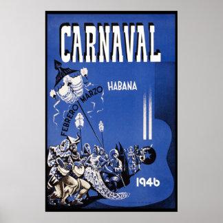 ハバナのカーニバルの1946年のヴィンテージ旅行 ポスター