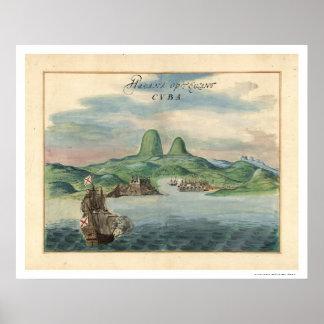 ハバナキューバの眺めの地図1639年の港 ポスター
