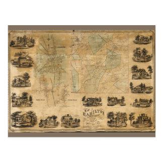 ハミルトン、マディソン郡、ニューヨーク(1858年)の地図 ポストカード