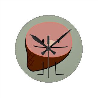 ハムの休日蛋白質の蜂蜜の焼いたなスモークポーク ラウンド壁時計