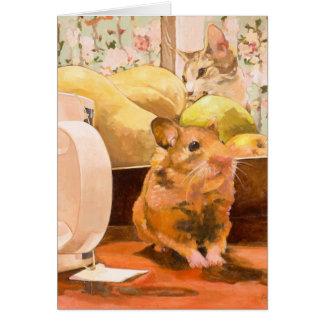 ハムスターおよび猫の空白のなカード カード