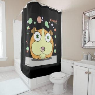 ハムスター(オレンジ、黒いBg)シャワー・カーテン シャワーカーテン