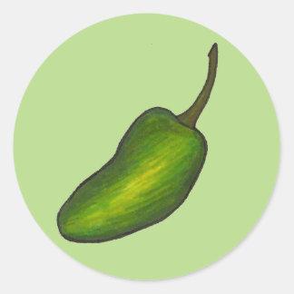 ハラペーニョのコショウのぴりっとする熱い緑のハラペーニョの野菜 ラウンドシール