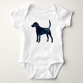 ハリアーの猟犬のビーグル犬の黒の水彩画のシルエット ベビーボディスーツ