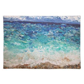 ハリウッドのビーチの海の芸術の元の絵画 ランチョンマット