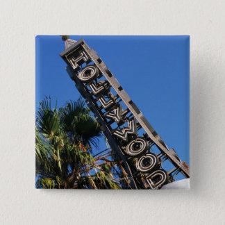 ハリウッドの印、ロサンゼルス、カリフォルニア 5.1CM 正方形バッジ