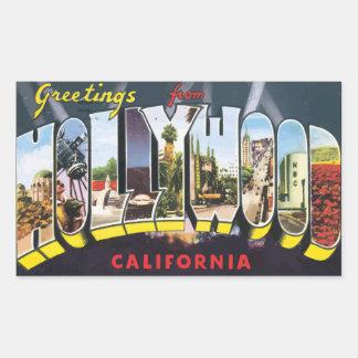 ハリウッドカリフォルニアのヴィンテージからの挨拶 長方形シール