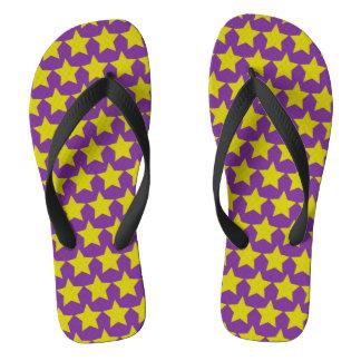ハリウッド・スターのフリップフロップ(女性) (紫色及び黄色) ビーチサンダル