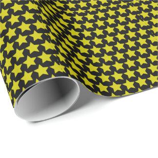 ハリウッド・スターの包装紙30x6 (black&yellow) ラッピングペーパー