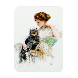 ハリスンフィッシャー: 猫を持つ女性 マグネット
