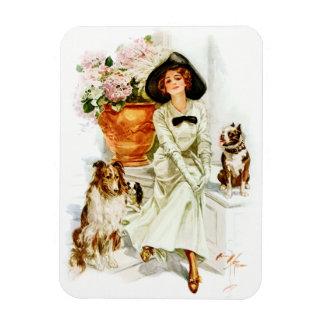 ハリスンフィッシャー: 3匹の犬を持つ女性 マグネット