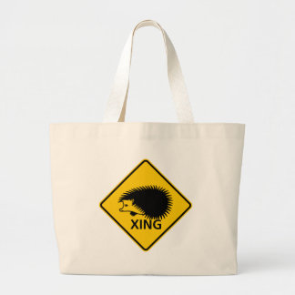 ハリネズミの交差のハイウェーの印 ラージトートバッグ