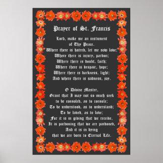 ハリネズミサボテンのボーダーが付いているSt. Francisの祈りの言葉 ポスター