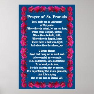ハリネズミサボテンフレームが付いているSt. Francisの祈りの言葉 ポスター
