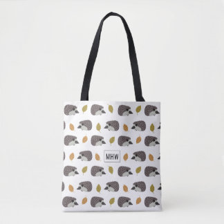 ハリネズミパターンカスタムなモノグラムのバッグ トートバッグ