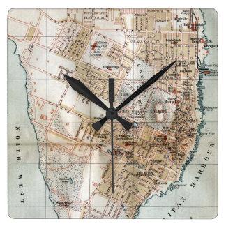 ハリファックスノバスコシア(1890年)のヴィンテージの地図 スクエア壁時計