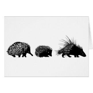 ハリモグラ、ハリネズミ、ヤマアラシの挨拶状 カード