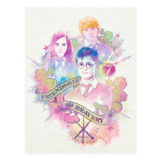 ハリー・ポッターシリーズの綴り|ハリー、Hermione、及びRon Waterc ポストカード