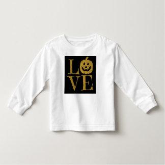 ハロウィンかわいい愛、wの金ゴールドのグリッターの手紙 トドラーTシャツ