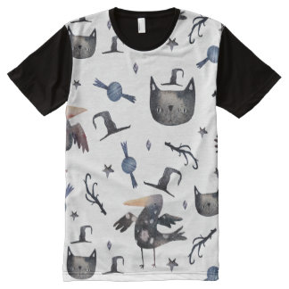 ハロウィンかわいい色彩の鮮やかなパターン(Customizeable BG) オールオーバープリントT シャツ