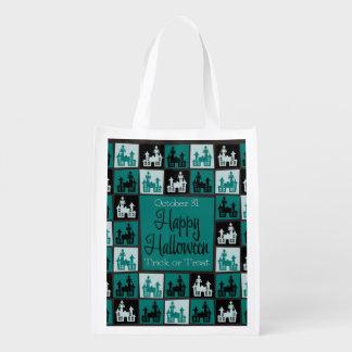 ハロウィンのお化け屋敷のモザイク エコバッグ