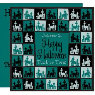 ハロウィンのお化け屋敷のモザイク カード