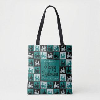 ハロウィンのお化け屋敷のモザイク トートバッグ