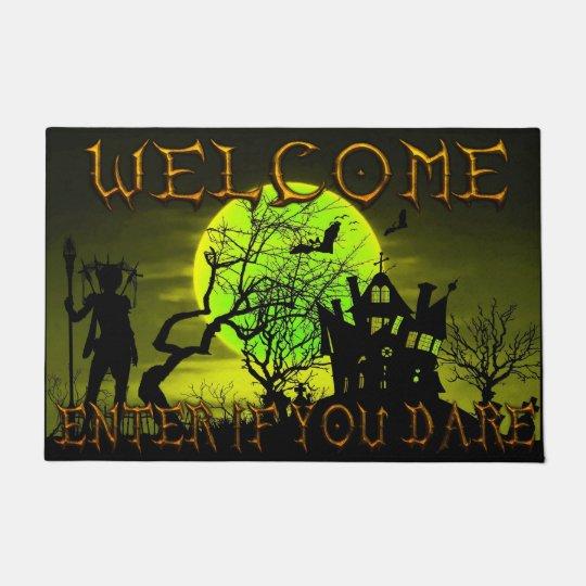 ハロウィンのお化け屋敷の歓迎は敢えてすれば入ります ドアマット