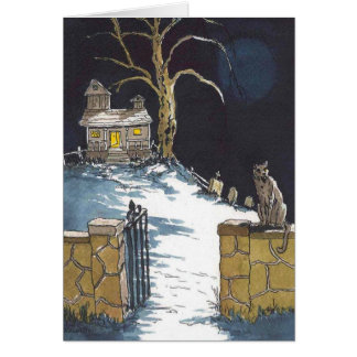 ハロウィンのお化け屋敷恐い猫カード カード