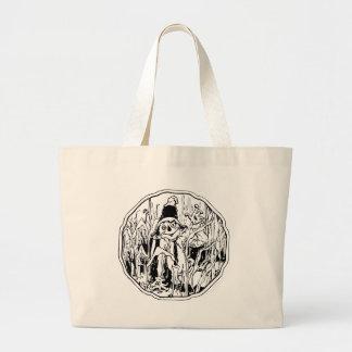 ハロウィンのかかしのバッグ ラージトートバッグ