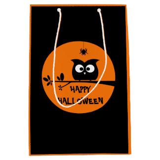 ハロウィンのかわいいフクロウ ミディアムペーパーバッグ