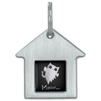 ハロウィンのかわいい幽霊猫 ペットネームタグ