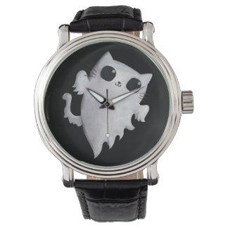 ハロウィンのかわいい幽霊猫 腕時計