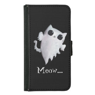 ハロウィンのかわいい幽霊猫 GALAXY S5 ウォレットケース