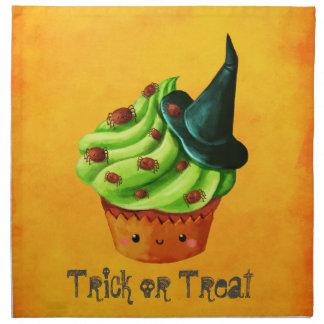 ハロウィンのかわいい緑のカップケーキ ナプキンクロス