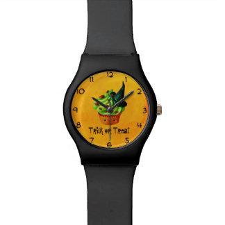 ハロウィンのかわいい緑のカップケーキ 腕時計