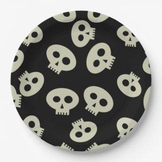 ハロウィンのかわいい骨組スカルの紙皿9つ ペーパープレート