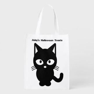 ハロウィンのかわいい黒猫はそれをカスタマイズ エコバッグ