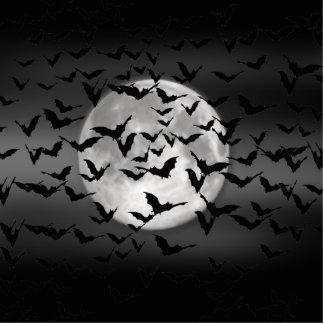 ハロウィンのこうもりおよび満月 写真彫刻(台付き)